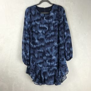 BcbgMaxazria Blue Flowy Long-Sleeve Shift Dress